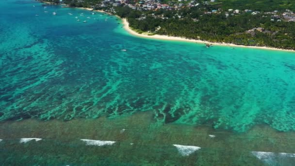 Flying on the Coast Line of the Ocean on the Drone. Amazing  Trou aux Biches, Mauritius