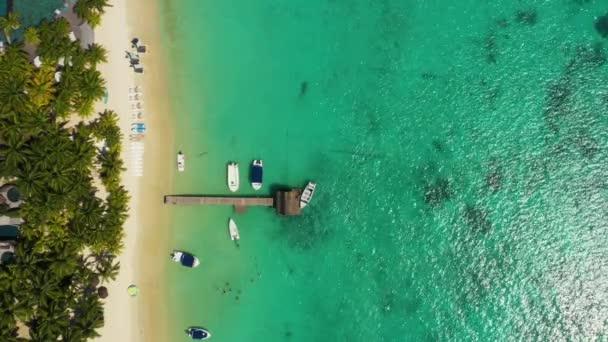 Luxury tropical beach in Mauritius. Beach with palms and blue ocean. Aerial view.  Amazing  Trou aux Biches, Mauritius