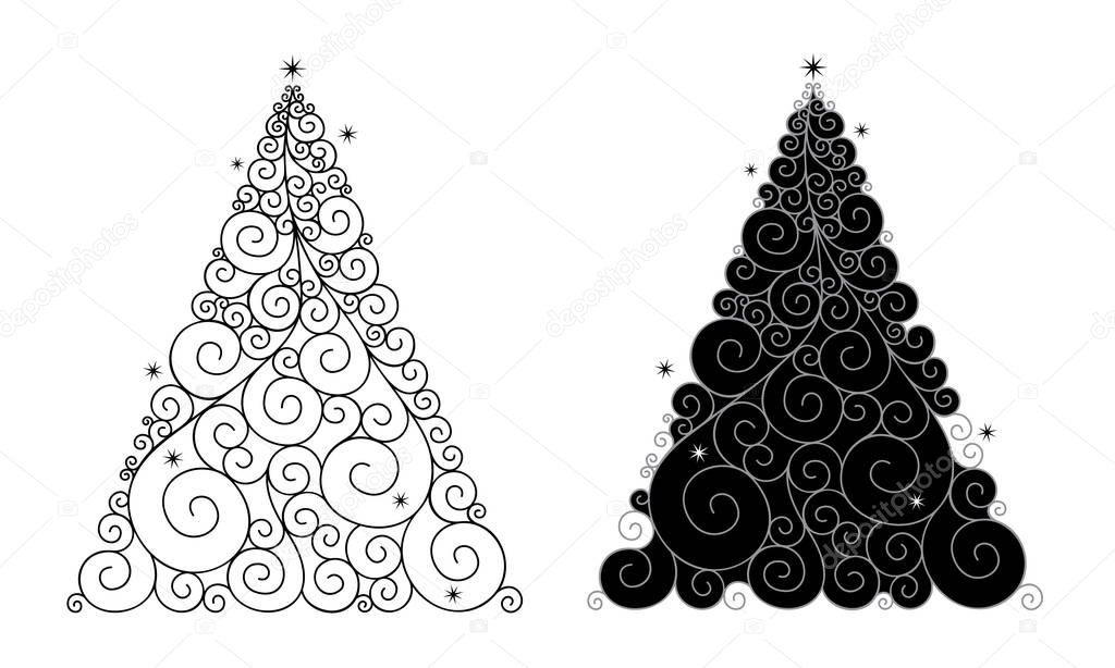 Vector illustration of abstract, stylized Christmas tree in black with swirls isolated on white background.