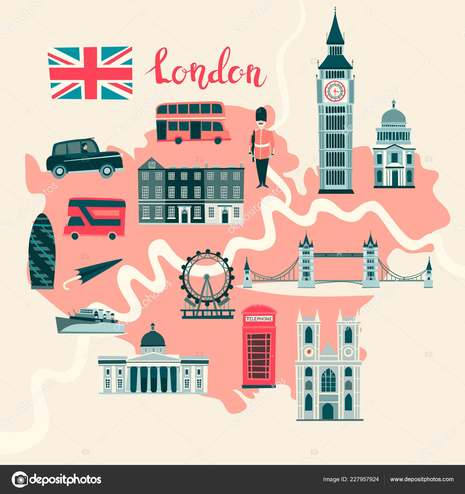 London In England Map.London Illustrated Map Vector Abstract Atlas Poster Illustrated