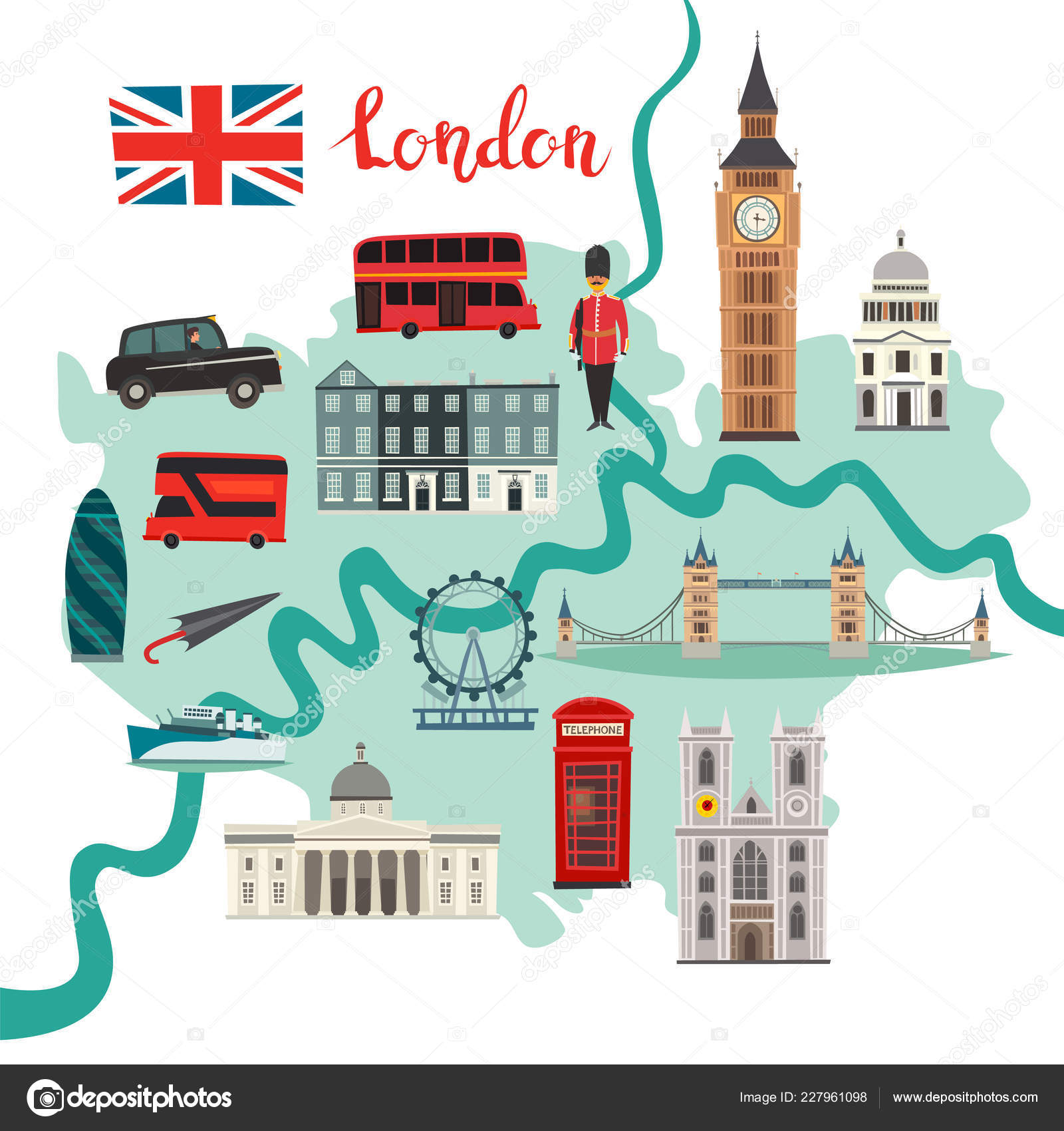Map Of Landmarks In London.London Map Vector Abstract Atlas Poster Illustrated Map London