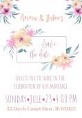 Fotografia Invito di nozze di saluto con i fiori dellillustrazione della mano
