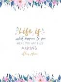 Fotografie Handzeichnung Poster mit Blumenrabatten und Motivation Zitat