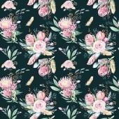 Ruční kreslení bezproblémovou akvarel květinovými vzory s protea rose, listí, větví a květin. České zlato růžový vzor prorea. Zázemí pro svatební přání s pozdravem