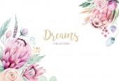 Ruční kreslení izolované akvarel květinové ilustrace s protea růže, listy, větve a květy. Český křišťál s rám. Prvky pro pozdrav svatební přání