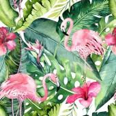 Fotografie Tropická bezešvé květinové letní vzor pozadí s tropickými palmami listy, růžový plameňák pták, exotické ibišky. Ideální pro tapety, textilní design, tkaniny tisk
