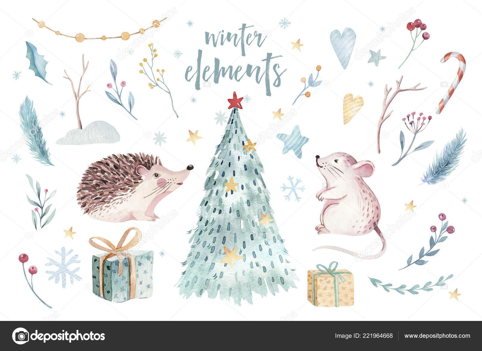 Weihnachtskarten Tiere.Aquarell Gold Frohe Weihnachten Illustration Mit Schneemann