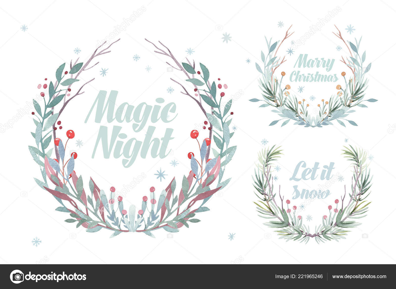 Christmas Wreath Card Winter Watercolor Painting Illustration Berry Wreath For Christmas Greeting New Year Holiday Frame Stock Photo C Mykef 221965246