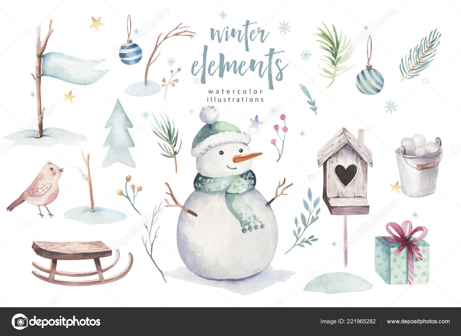 Weihnachtskarten Tiere.Aquarell Frohe Weihnachten Illustration Mit Schneemann Urlaub