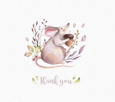 Cute baby animal nursery mouse isolated illustration for children. Watercolor boho forest drawing watercolourimage Perfect for nursery posters, pattern