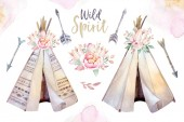 Fotografie Watercolor colorful ethnic set of arrows, teepees and flowers in native American style.Tribal Navajo isolated illustration ornament on white background. Indian,