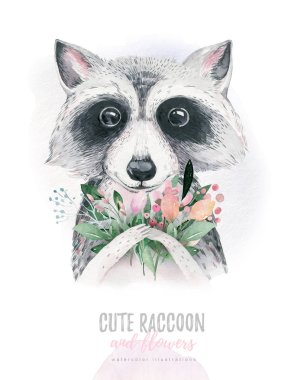 Watercolor cartoon isolated cute baby raccoon animal with flowers. Forest nursery woodland illustration. Bohemian boho drawing for nursery poster, patterns