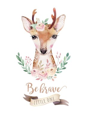 Watercolor forest cartoon isolated cute baby deer animal with flowers. Nursery woodland illustration. Bohemian boho drawing for nursery poster, pattern stock vector