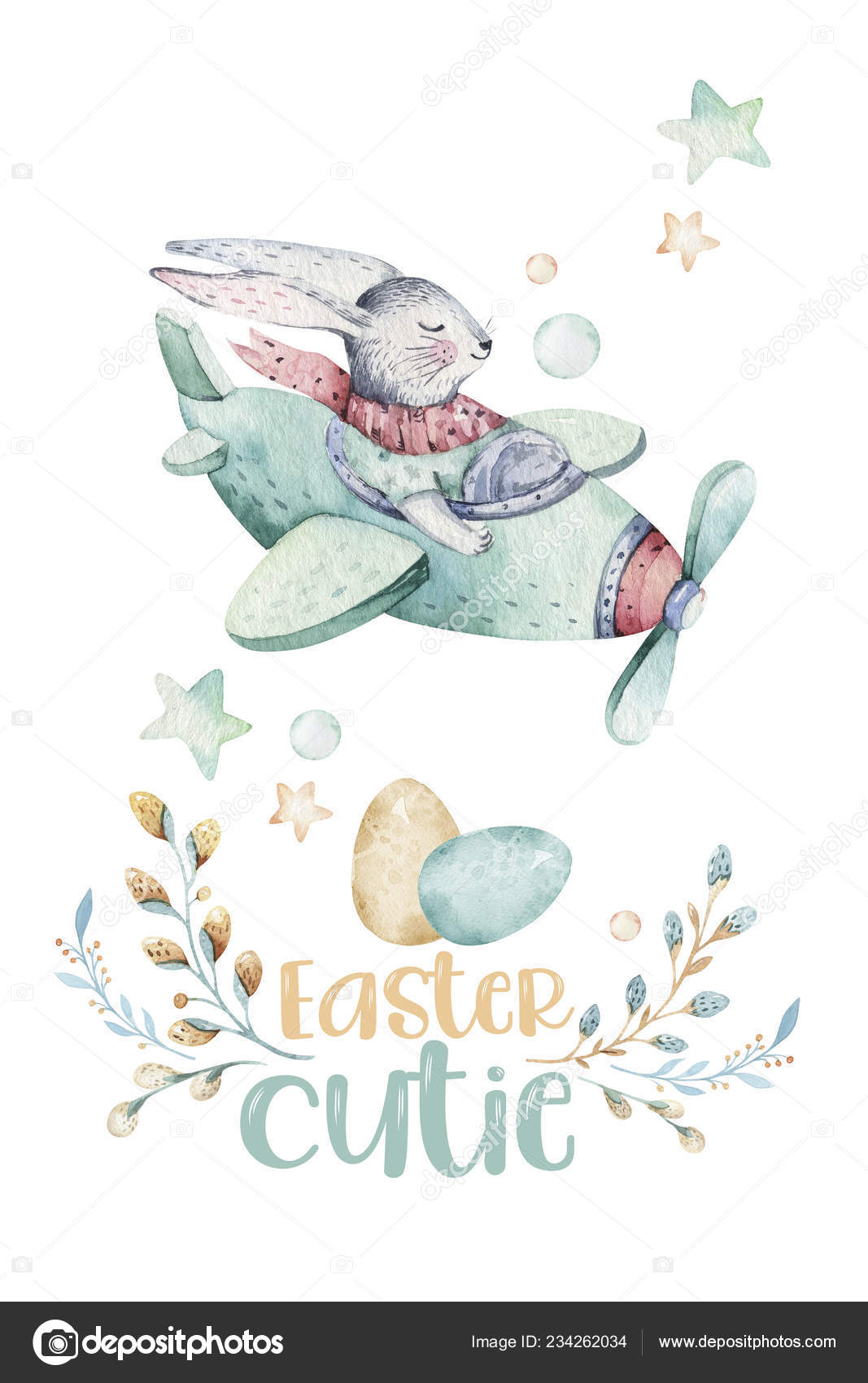 Hand Drawing Fly Cute Easter Pilot Bunny Watercolor Cartoon Bunnies