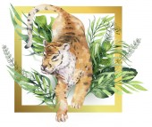 Akvarell tigris illusztráció és nyári paradicsom trópusi dzsungel levelek nyomtatási kerettel. Palm növény és virág elszigetelt o fehér.