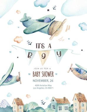 Watercolor set background illustration of a cute and fancy sky scene complete with airplanes, helicopters and balloons, clouds. Boy pattern. Its a baby shower illustration