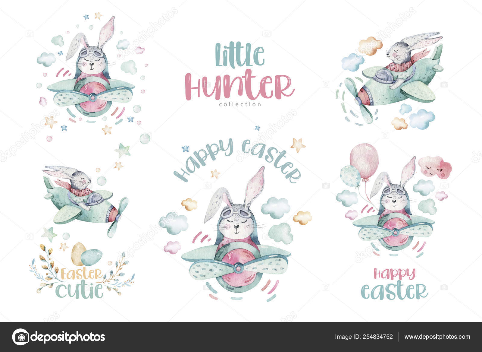 Hand Drawing Fly Cute Easter Pilot Bunny Watercolor Cartoon Bunnies With Airplane In The Sky Turquoise Watercolour Animal Rabbit Flying Art Flight Illustration Stock Photo C Mykef 254834752