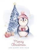 Aquarell frohe Weihnachten Charakter Pinguin Illustration. Winter Cartoon isoliert niedlichen lustigen Tier-Design-Karte. Schnee Urlaub Weihnachtspinguine.