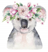 Fotografie A trendy poster with a koala. Watercolor cartoon koala tropical animal illustration. Jungle exotic summer print.