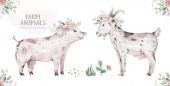 Fotografie farms animal set. Cute domestic pets watercolor illustration. horse and goose. pig design with goat. rooster chicken and sheep, cow
