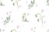 Kézzel rajzolt akvarell trópusi virág varrat nélküli mintázat. Egzotikus Pálma levelek, dzsungel fa, Brazília trópusi botanikus dekoráció botanikai elemek és virágok. Tökéletes Anyagkivitel.