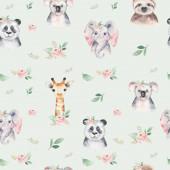 Aquarell nahtloses Muster mit einem Baby-Elefanten-Panda und Koala. Hintergrund Karikatur Elefant tropische Tiere