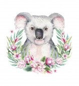 Fotografie A poster with a koala. Watercolor cartoon koala tropical animal illustration. Jungle exotic summer print.