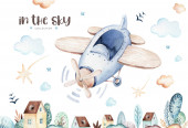 Fotografie Aquarell set baby cartoon niedlichen piloten flugzeug hintergrund illustration von phantasie himmel transport komplett mit flugzeugen ballons, wolken. Kindliches Jungenmuster. Es ist eine Baby-Dusche Illustration