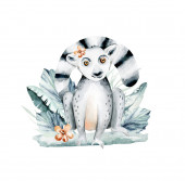 Watercolor illustration of a lemur in white background. Madagascar fauna zoo exotic lemurs animal. Tropical design poster