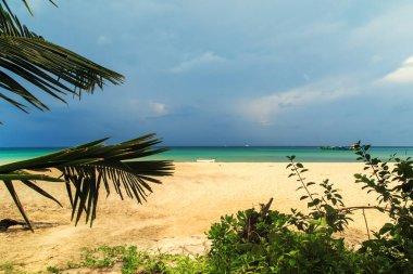 Snow-white beach and turquoise sea on the island Koh Rong Samloem. Cambodia.