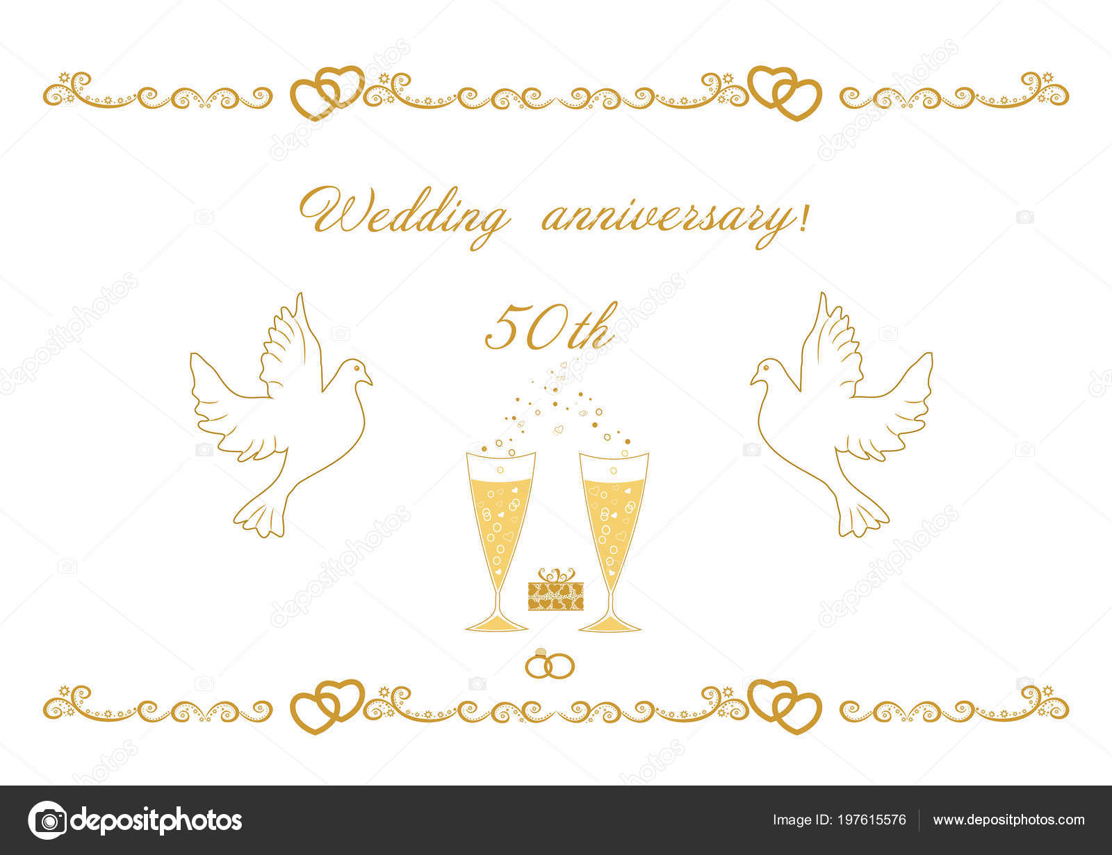 50th Wedding Anniversary Card Greetings Writing Text Vector