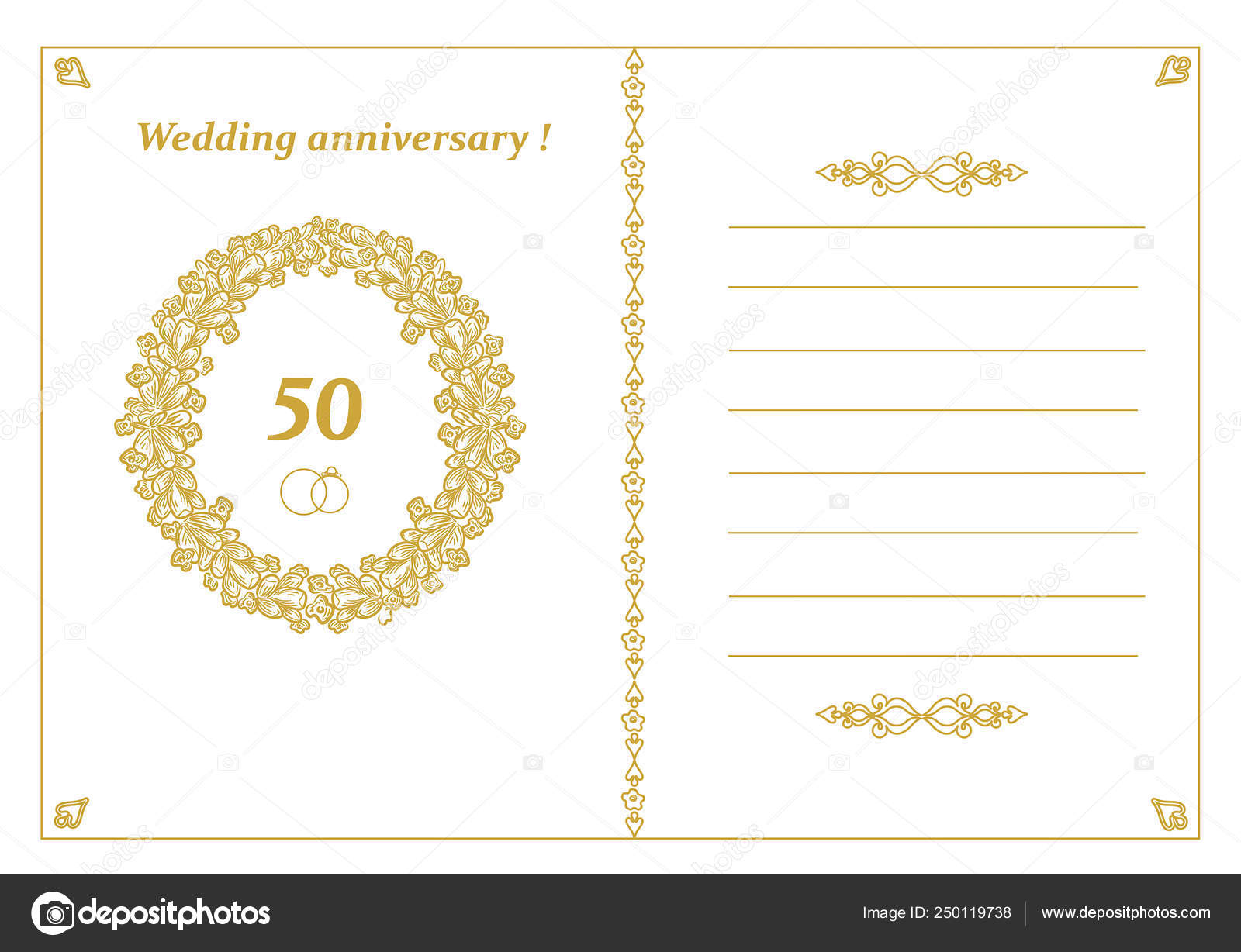 50th Wedding Anniversary Template Card Vector Illustration