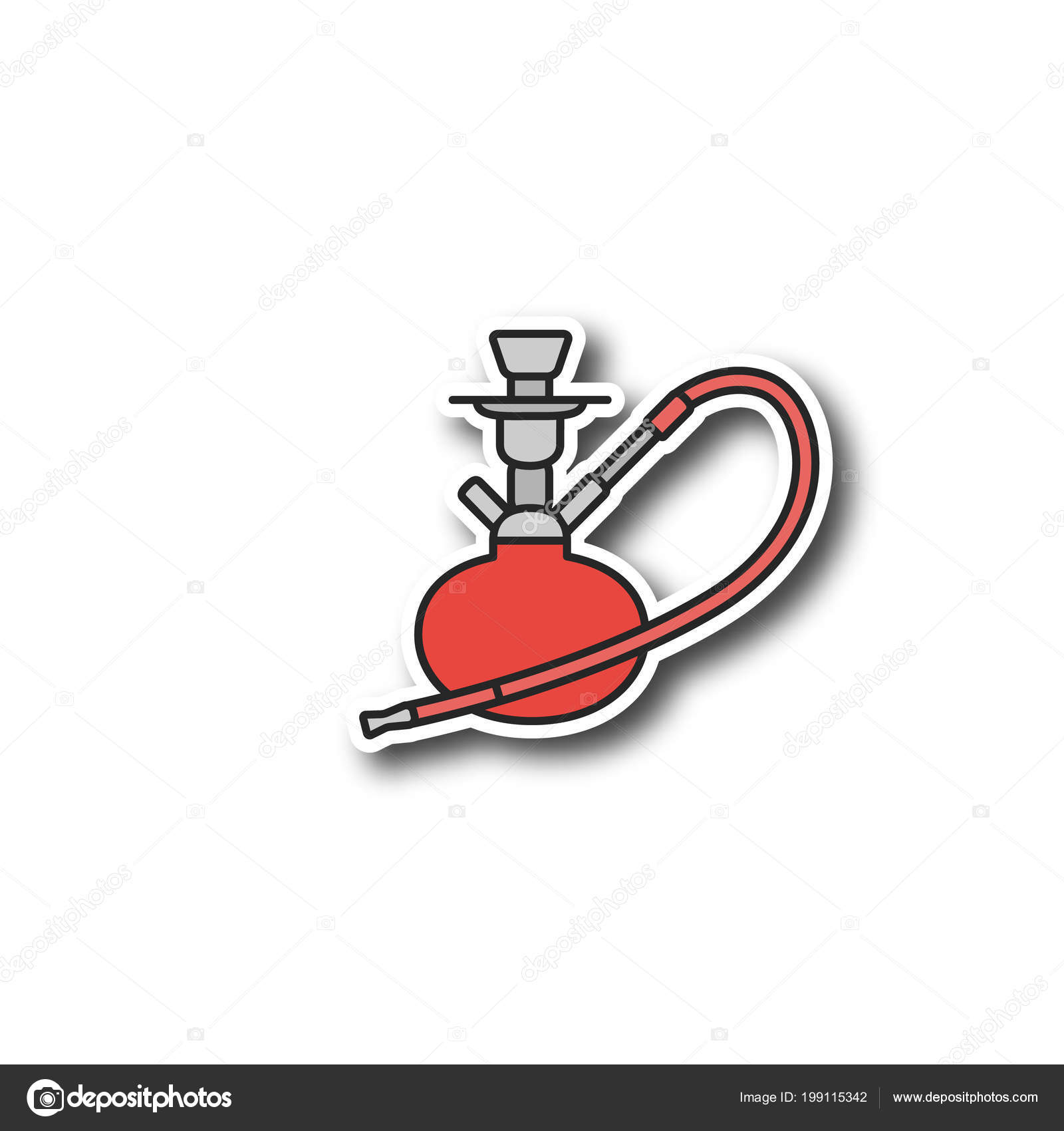 Hookah Patch Nargile Color Sticker Vector Isolated