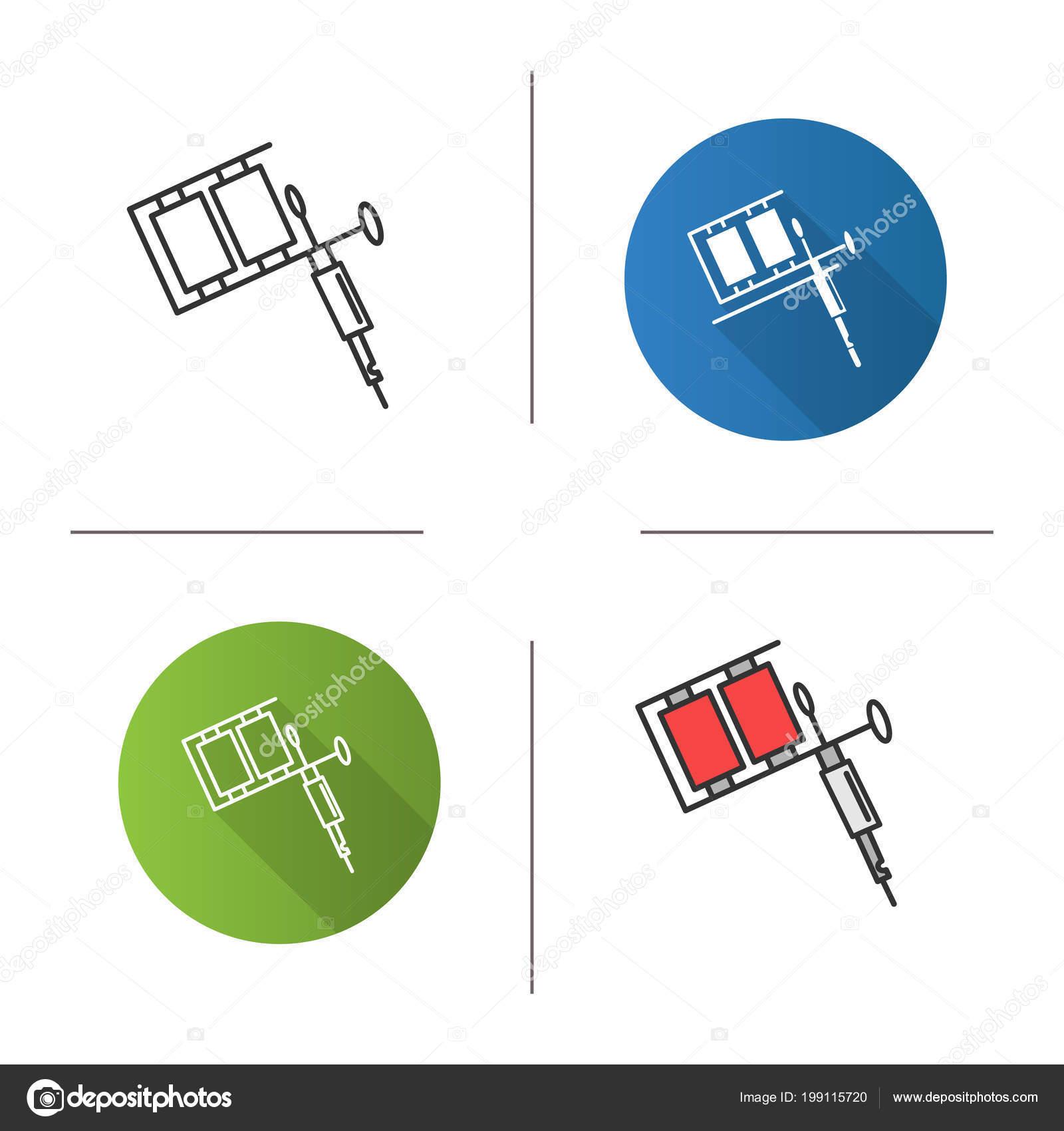 Tattoo Maschine Symbol Ttowierung Pistole Flache Bauweise Lineare Tattoomachinediagramjpg Und Farbe Stockvektor