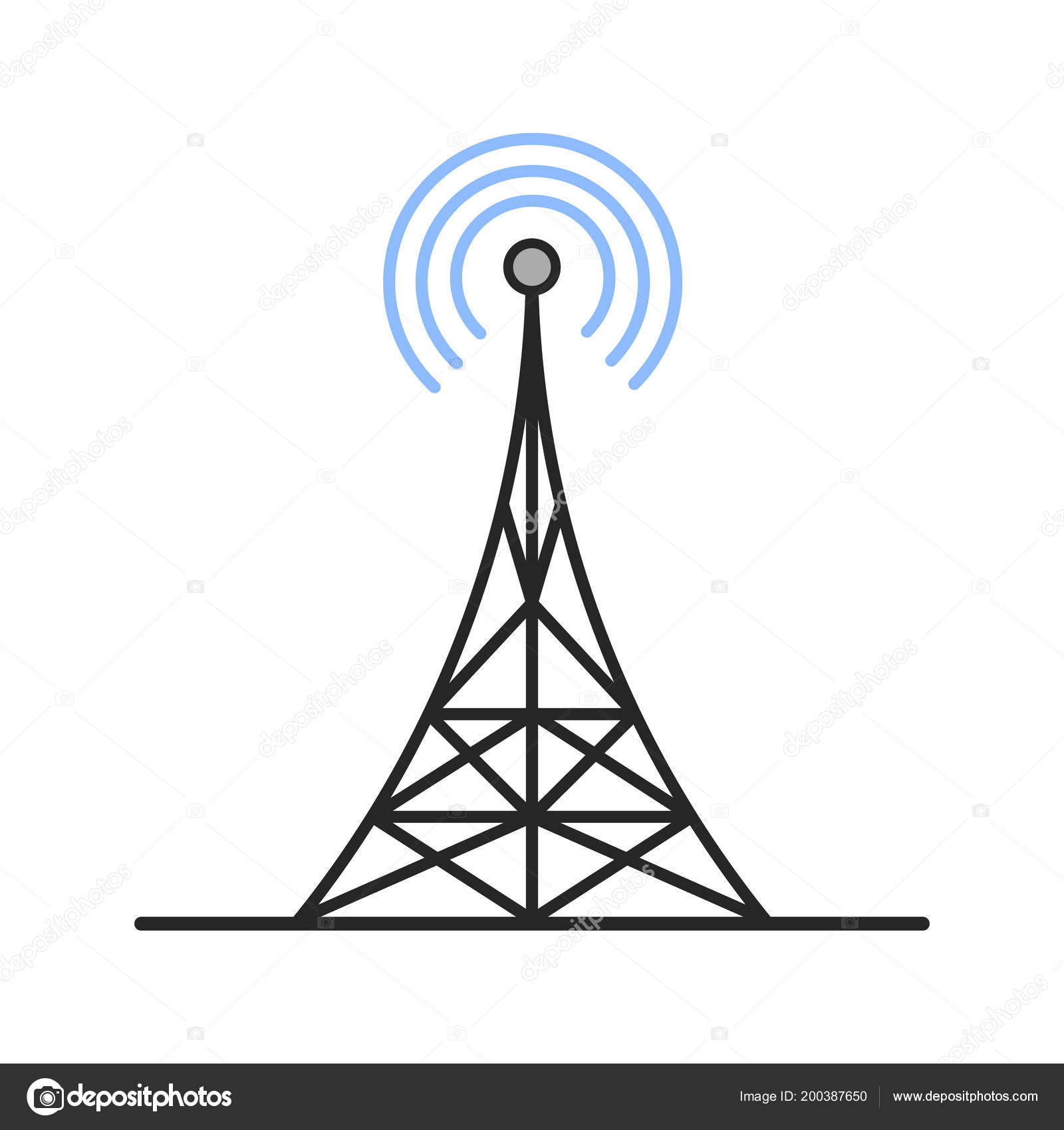 Radio Tower Color Icon Antenna Isolated Vector Illustration