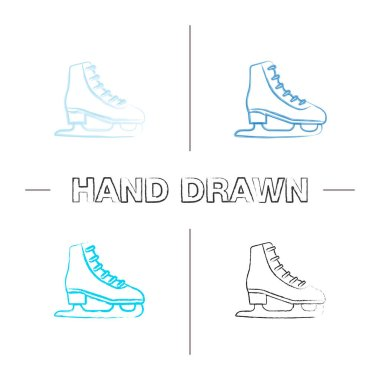 Ice skate hand drawn icons set. Skating boot. Color brush stroke. Isolated vector sketchy illustrations icon