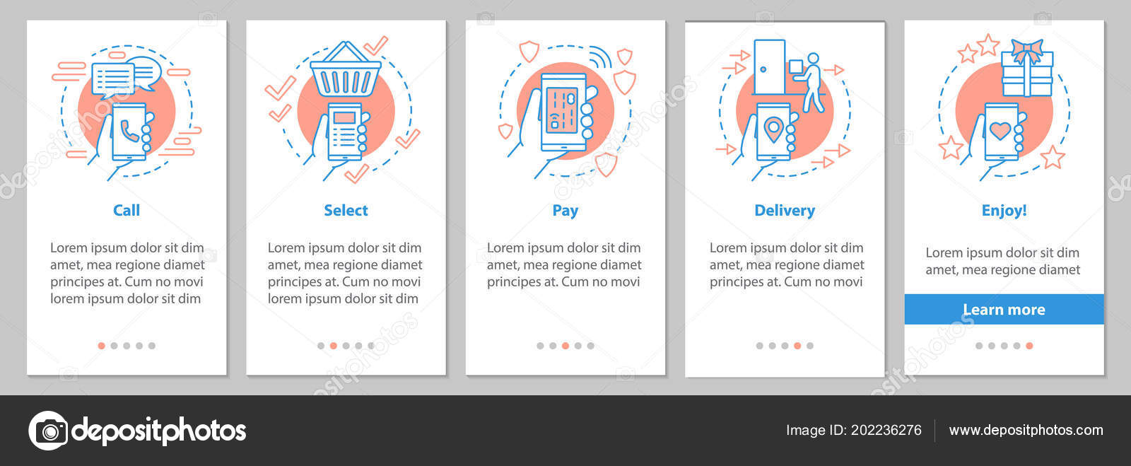 Online Shopping Onboarding Mobile App Page Screen Linear Concepts