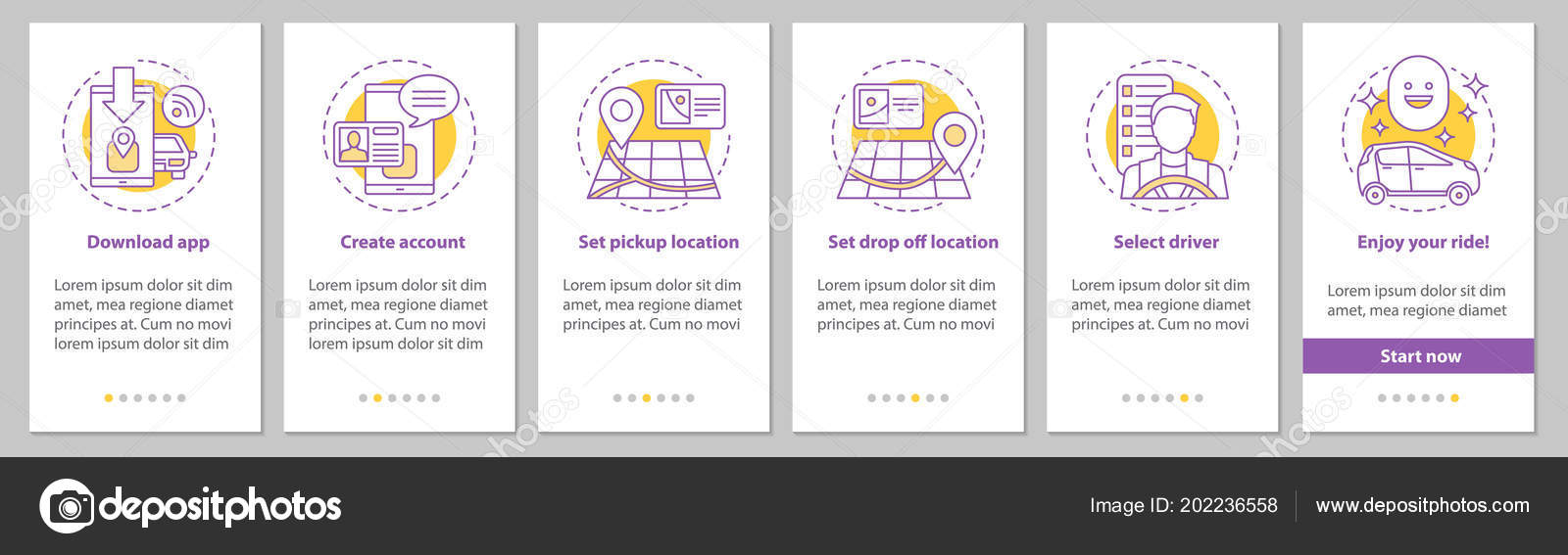 Carpooling Mobile App Onboarding Mobile App Page Screen Linear