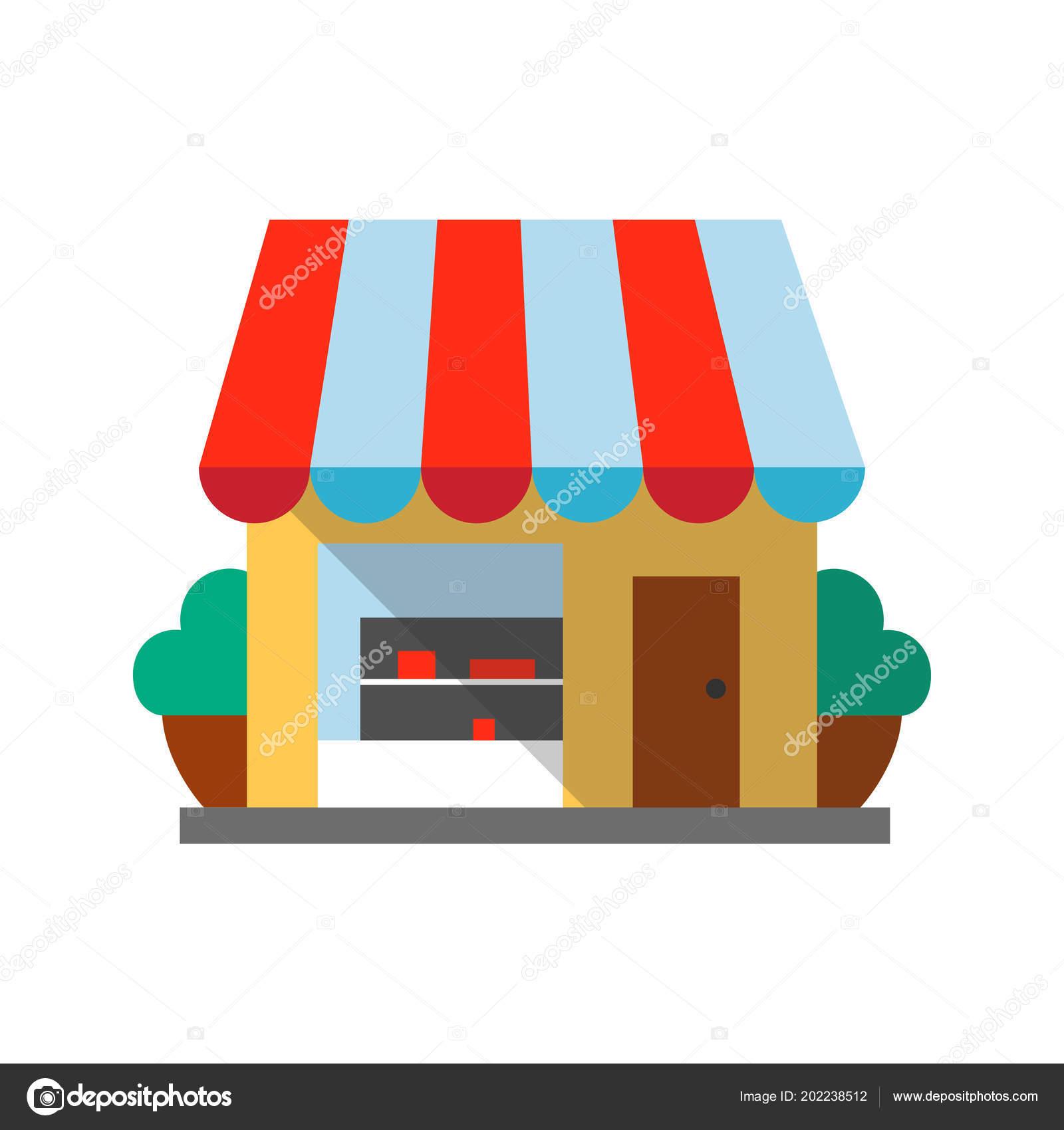 Photos Small Shop Design Small Shop Flat Design Long Shadow Color Icon Grocery Store Stock Vector C Bsd 202238512
