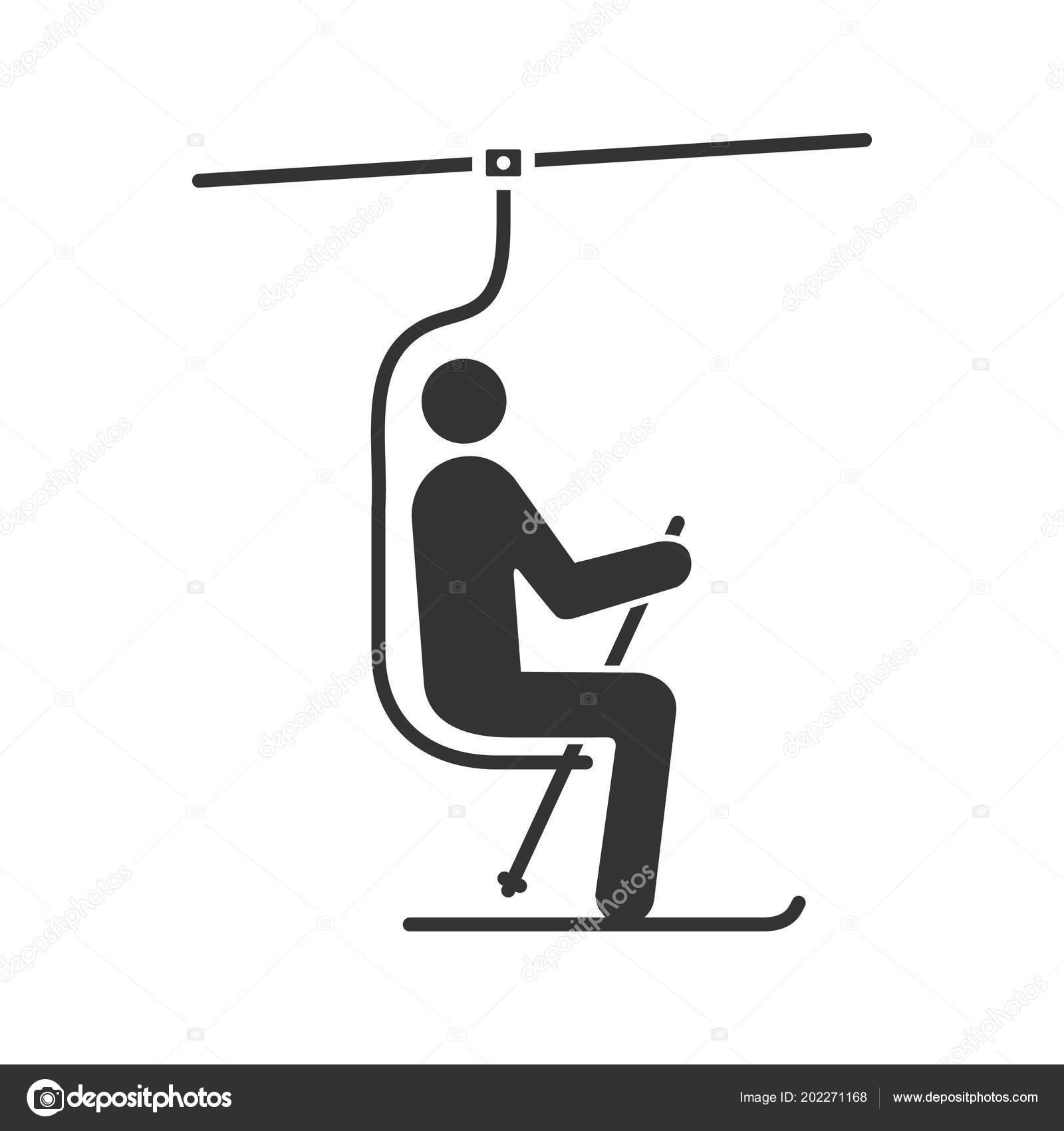 Ski Sesselbahn Mit Skifahrer Glyph Symbol Standseilbahn Skilift