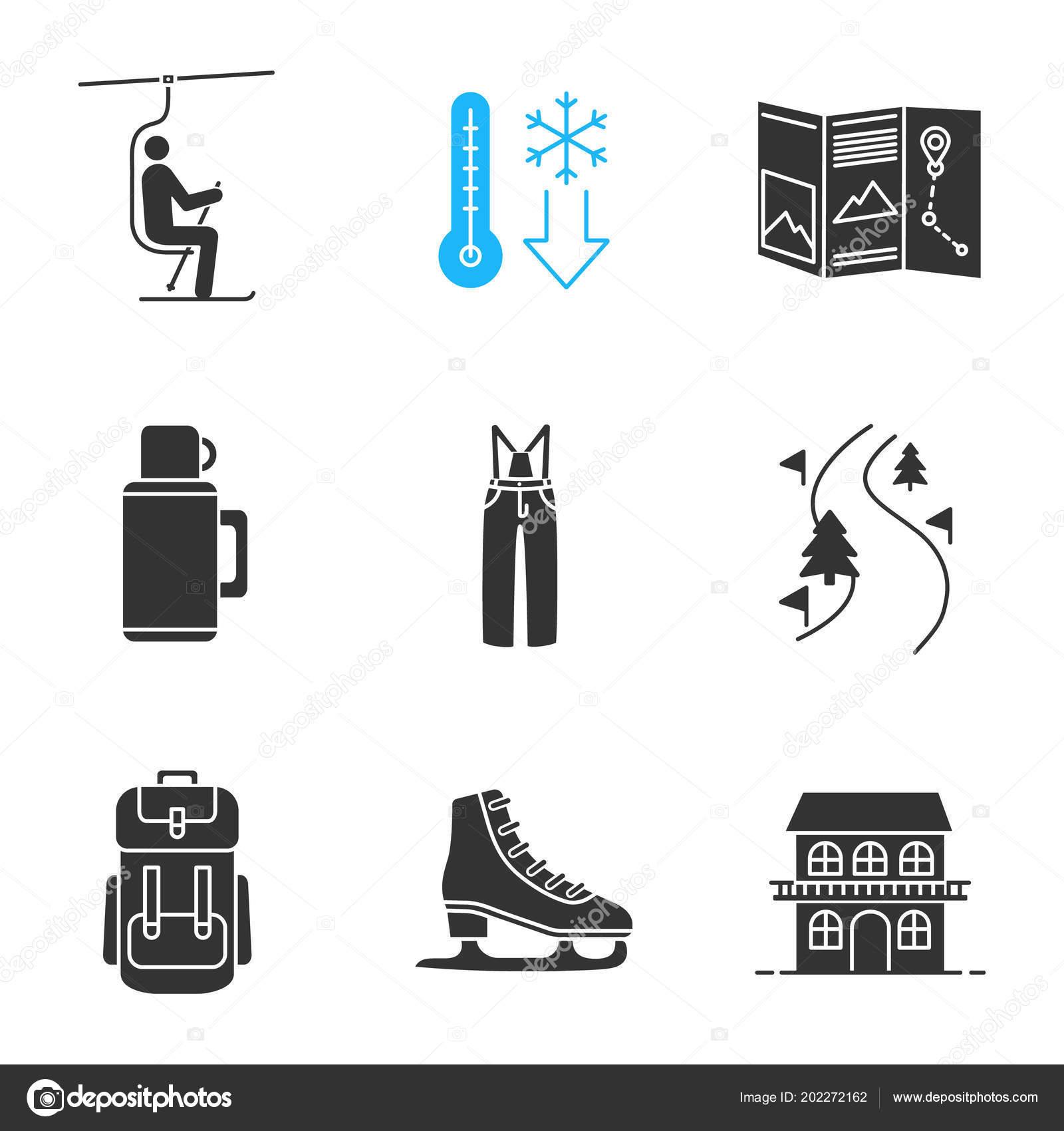 Winter Aktivitaten Glyphe Symbole Festgelegt Sessellift Kaltes