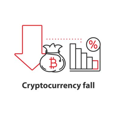 Cryptocurrency fall concept icon. Profit decline idea thin line illustration. Bitcoin failure. Vector isolated outline drawing