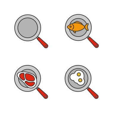 Frying pans color icons set. Fried fish, eggs and meat steak. Isolated vector illustrations