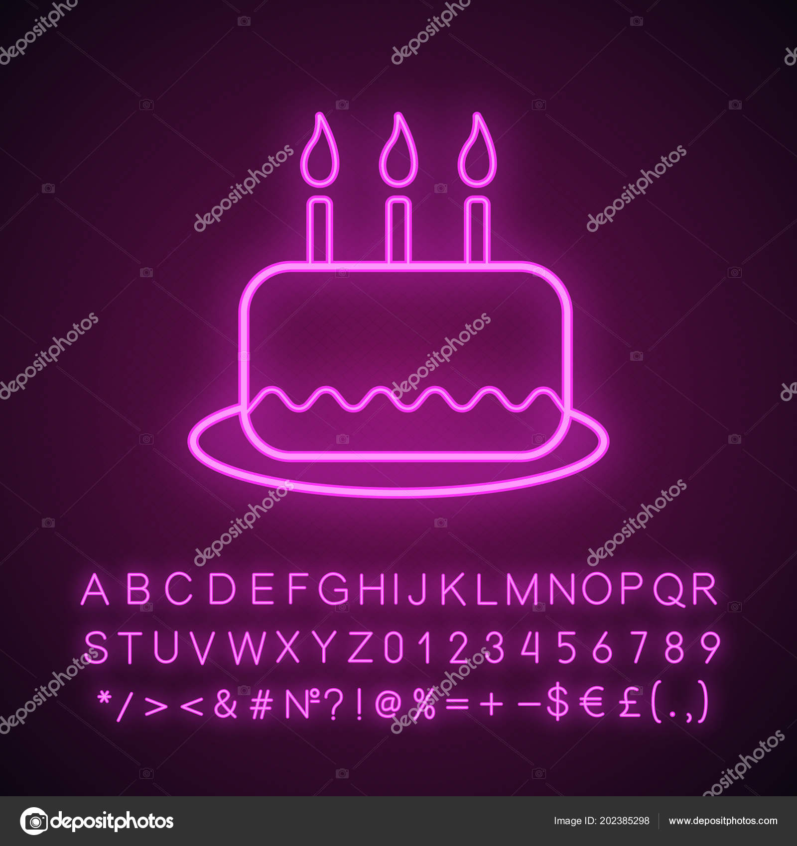 Fine Neon Birthday Cake Birthday Cake Neon Light Icon Glowing Sign Funny Birthday Cards Online Necthendildamsfinfo