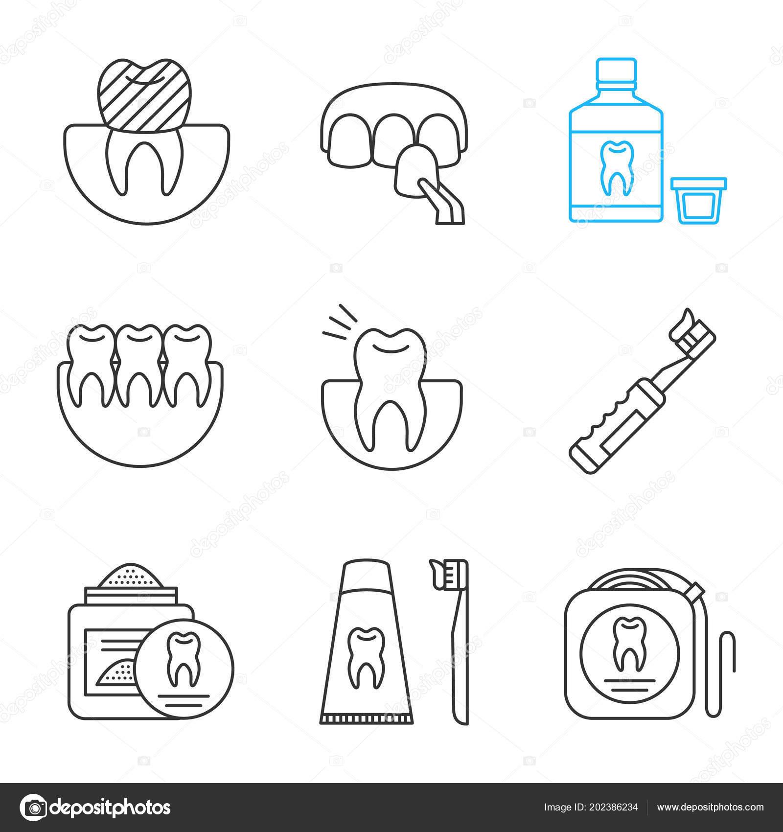 3703b9d17 Conjunto Ícones Linear Odontologia Coroa Dentária Folheado ...