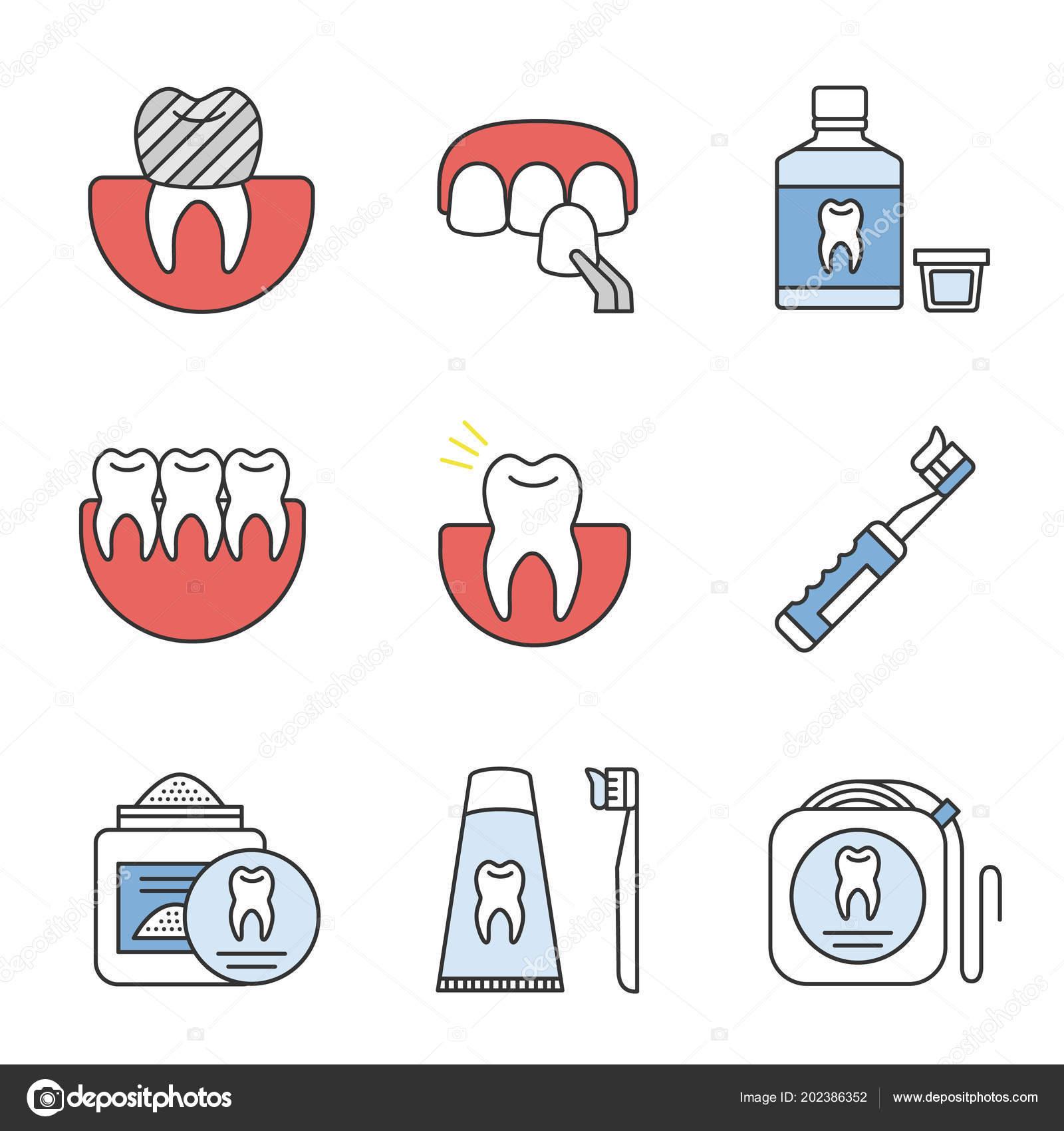 45a86a319 Conjunto Ícones Cor Odontologia Coroa Dentária Folheado Enxaguatório ...