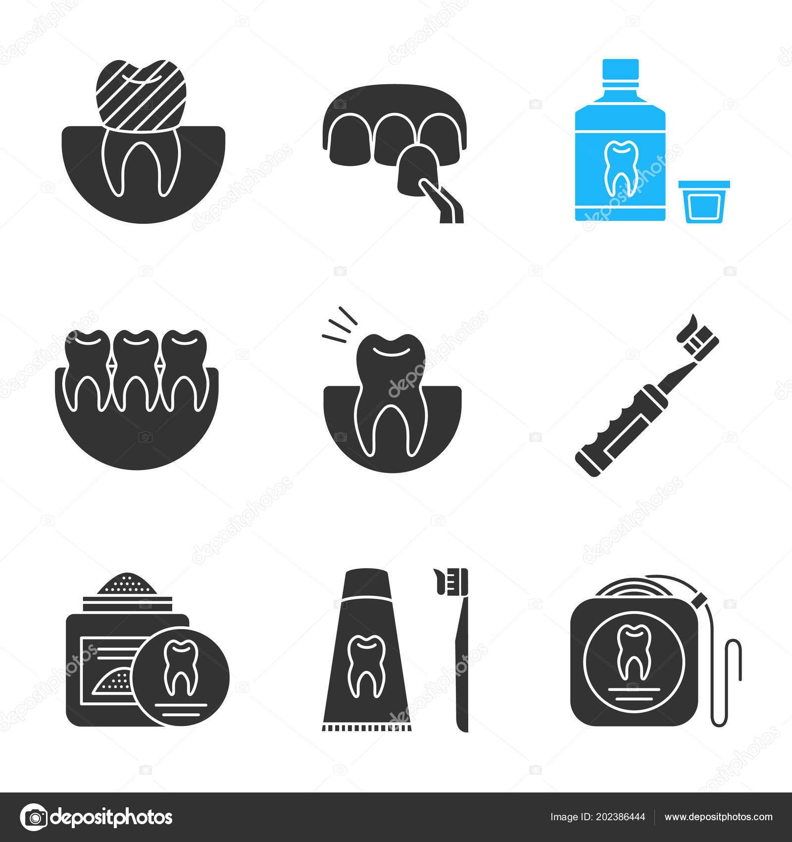 141e51e5b Conjunto Ícones Glifos Odontologia Coroa Dentária Folheado ...