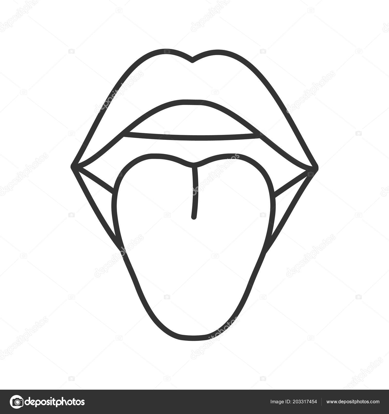 open female mouth linear icon tongue thin line illustration oral