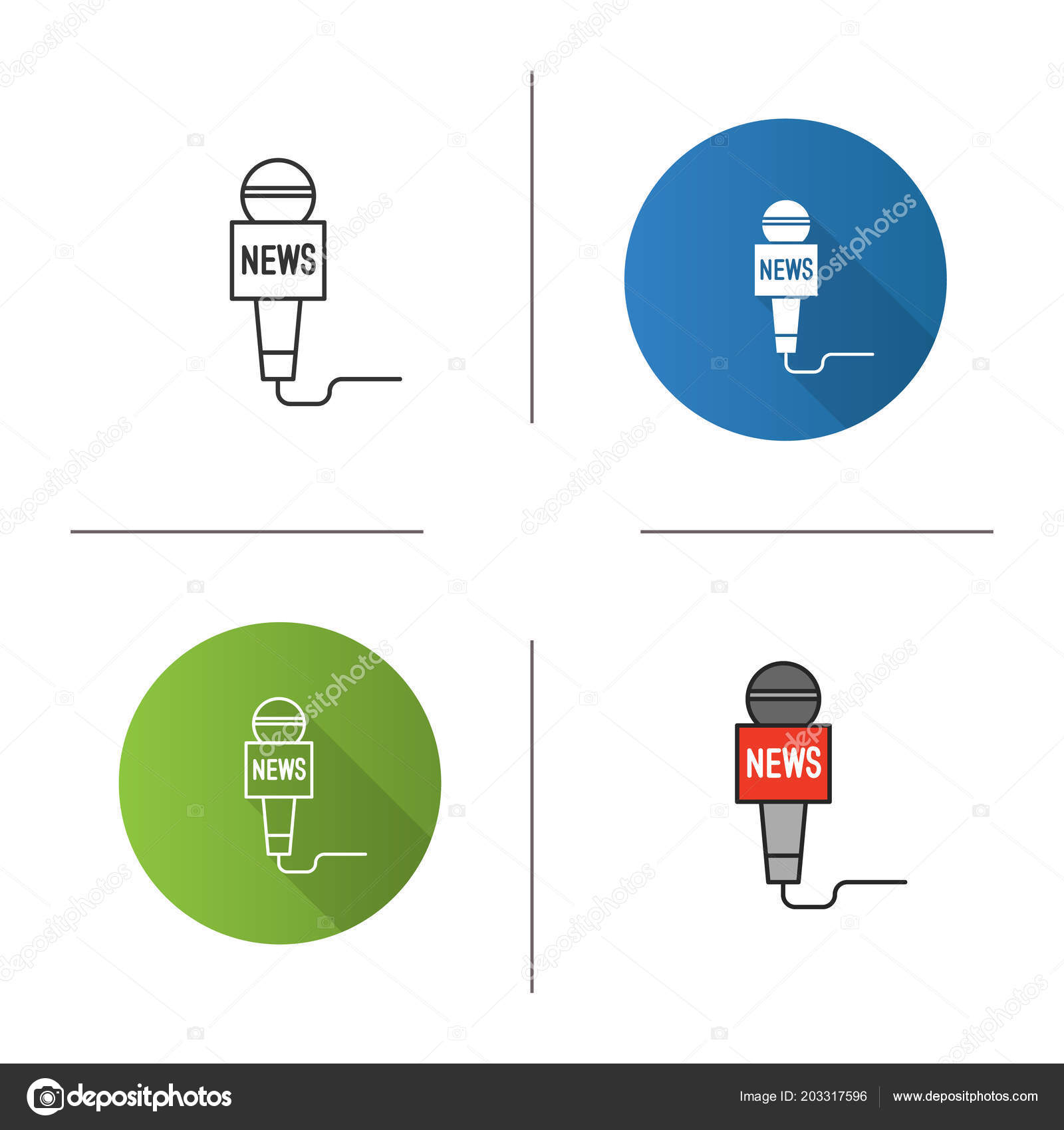 microphone broadcasting news icon television reporting flat design