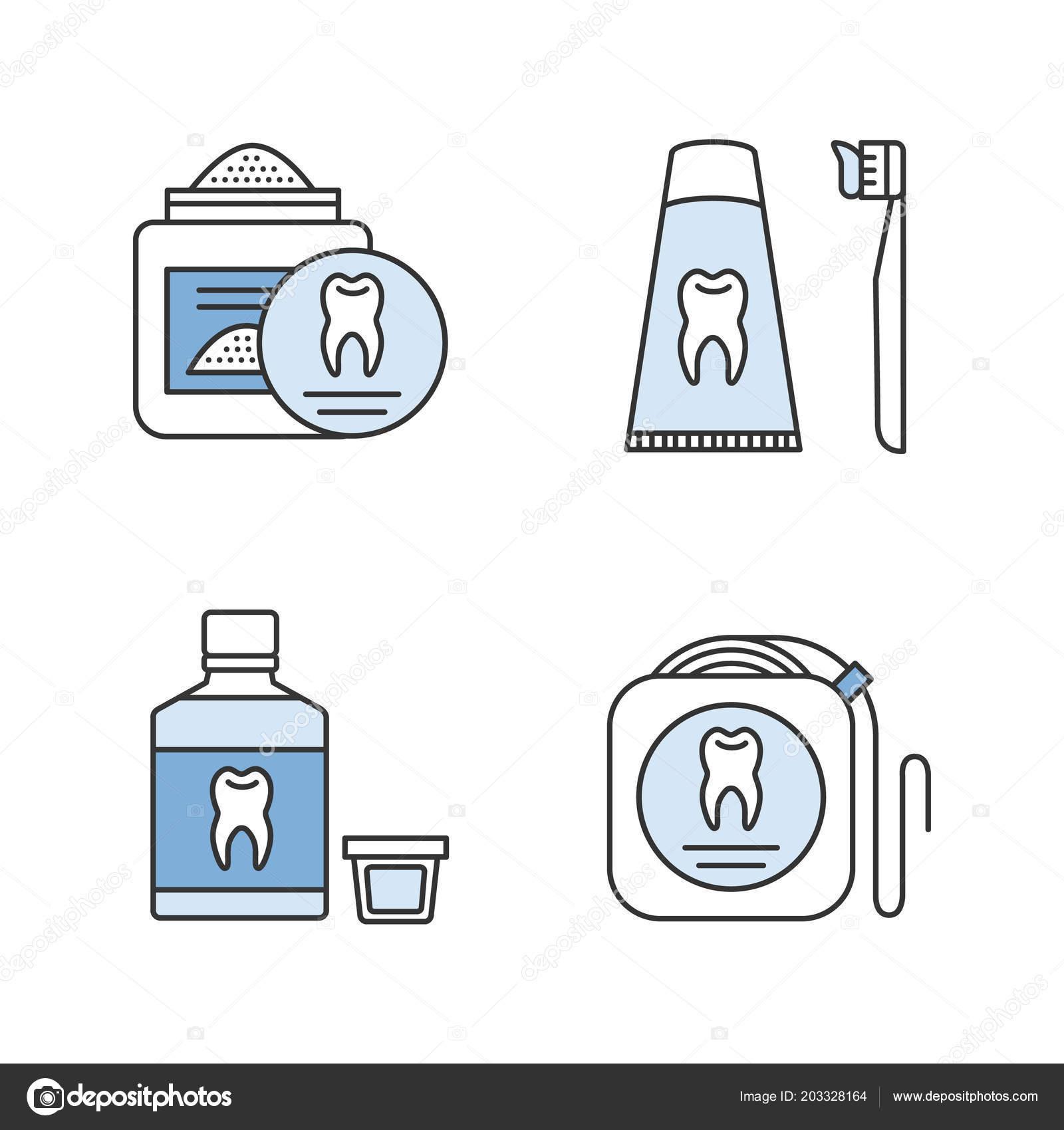 70e9d6090 Conjunto de ícones de cor de odontologia. Estomatologia. Pó de dente